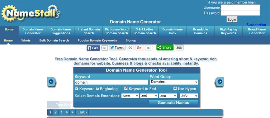 NameStall Business Name Generator