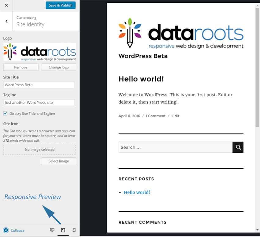 WordPress 4.5 Responsive Preview