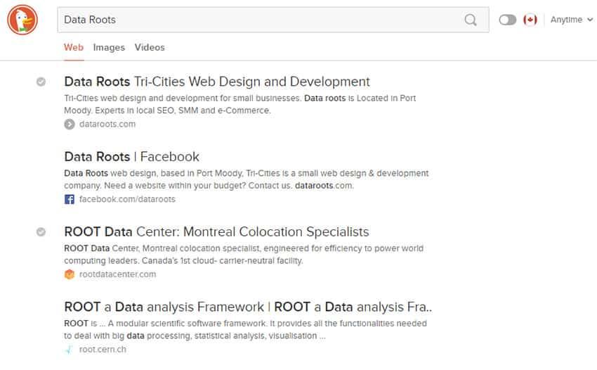 DuckDuckGo search results