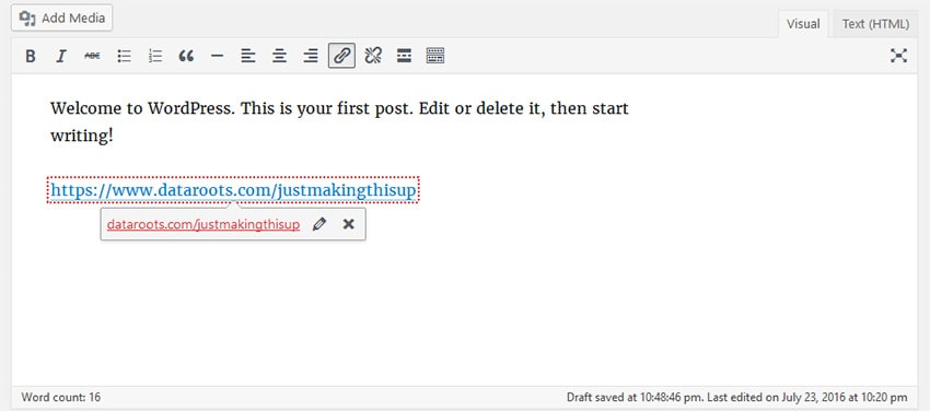 WordPress 4.6 live link checker