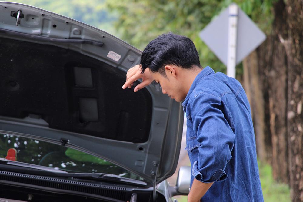 Man looking at daunting task